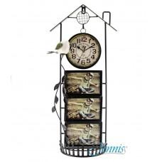 Часы настольные Jenniss Фоторамка Дом (Черный)